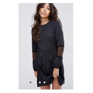 ASOS Long Sleeve Mini Dress With Lace Insert